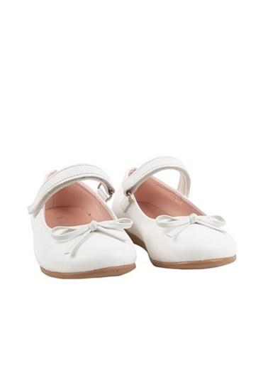 Kids A More Jessica Tek Cırtlı Pu Deri Kız Çocuk Babet Ayakkabı  Beyaz